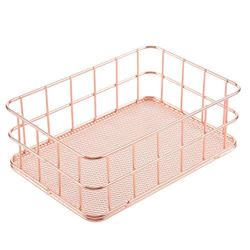 HEYB Cesta de almacenamiento de alambre de metal para baño, organizador de maquillaje, color oro rosa, soporte para bolígrafo, malla de alambre, artículos de tocador de baño