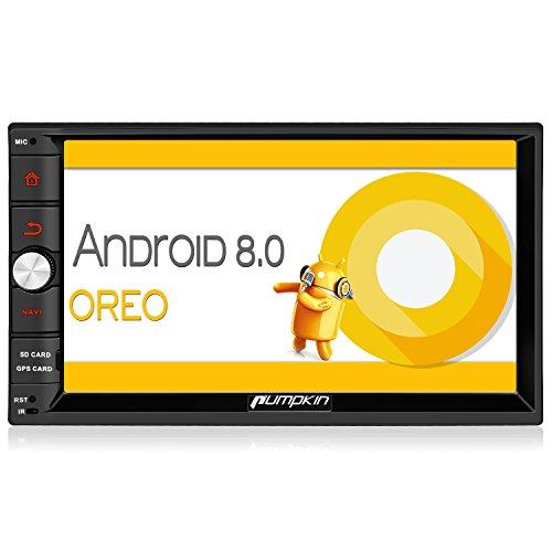 Pumpkin Autoradio 2Din mit 7-Zoll-Touchscreen, Android8.0, Octa-Core-Prozessor, 4GB RAM, 32GB ROM, GPS, USB, SD-Karten, Bluetooth, Bedienung am Lenkrad, WLAN, OBD2, DAB, RDS