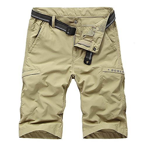 Men's Outdoor Lightweight Quick Dry Belted Hiking Cargo Shorts with Multi Pockets Khaki 36