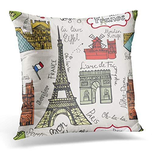 Funda de almohada decorativa 01 11 2014 Doodles Famous Paris Landmark Notre Dame Torre Eiffel Arco de Triunfo Moulin Rouge Louvre Funda de almohada cuadrada decoración del hogar 45,7 x 45,7 cm