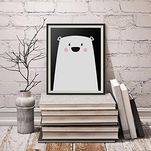 GUDOJK wandschilderij ijsbeer canvas schilderij kleuterschool pop muurkunst dier poster afdrukken foto's voor kinderen woonkamer wooncultuur geen lijst 50x70cm(20x28inch)