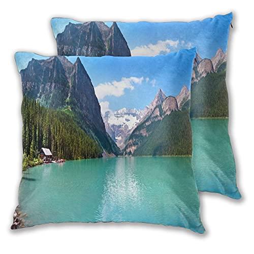 CANCAKA Juego de 2 Fundas de Cojín,Panorama de la montaña y el Lago Louise en el Parque Nacional Banff, Alberta, Canadá,Decorativa Cuadrado Suave Funda de Almohada Sofá Sillas Cama Decoración Hogar