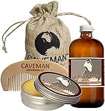 Caveman Beard Oil and Beard/Mustache Balm Wax, Handmade Comb Set Choose Scent (Straight Razor)