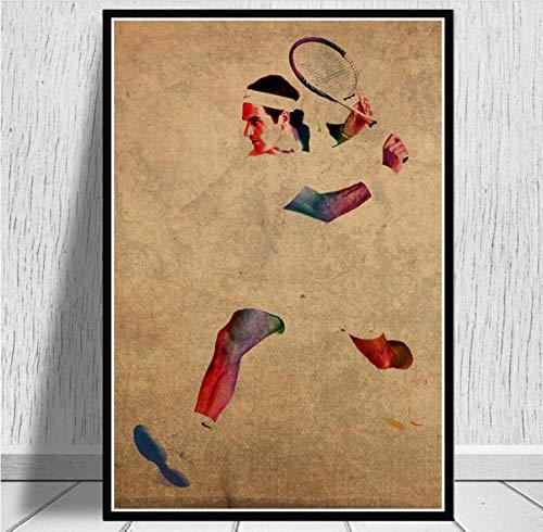 MZCYL Leinwand Malerei Wandkunst Bild Roger Federer Tennis Spieler Sport Star Poster Drucken Leinwand Malerei Ohne Rahmen 40 * 60 cm