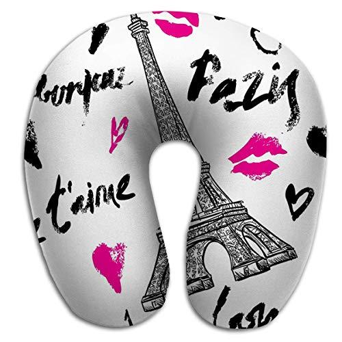 Almohada en Forma de U Novedad Almohada de Descanso de Viaje París Vintage Patrón sin Costuras Torre Eiffel Letras Retro Color Paradise