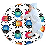 Alfombra redonda con patrón de animales de dibujos animados de escarabajo de 81 cm tradicional, alfombra antideslizante para sofá, sala de estar, dormitorio, decoración moderna del hogar
