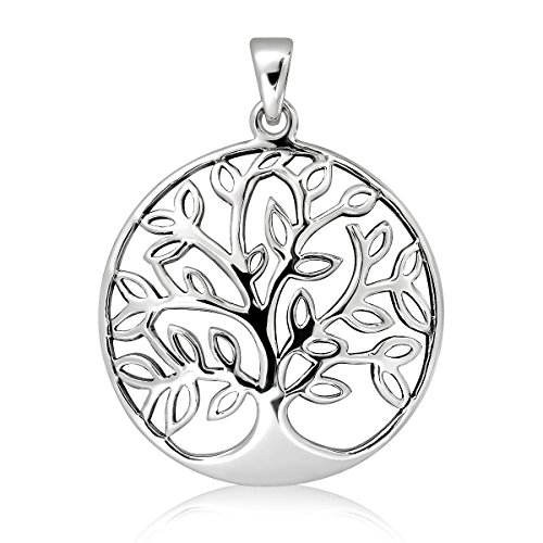 WithLoveSilver 925 Sterling Silver Celtic Round Tree of Life Pendant