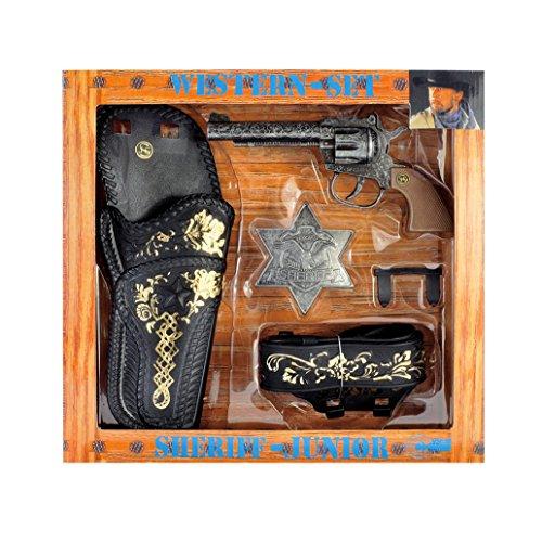 Schrödel J.G. GmbH - Set da Sceriffo per Bambini, con Pistola ad Acqua, Cintura, Fodera per Pistola e Stella da Sceriffo, 4 pz.
