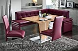 German Furniture Warehouse Made in Europe Pula Breakfast Nook Kitchen Nook Red Leather Corner Dining Breakfast Set Table Bench Chair Booth