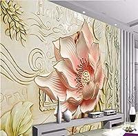 Bosakp カスタム大規模-壁画3Dレリーフ花フレスコテレビの背景の壁の壁紙壁画 160X100Cm