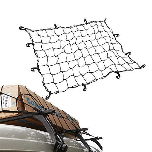 NUMAANORT Cargo Net for Roof Rack 47' x 36' Stretches to 80' x 60', Elastic Car Net for SUV, ATV, UTV, RV, Cargo Hitch, Small Pickup Trucks
