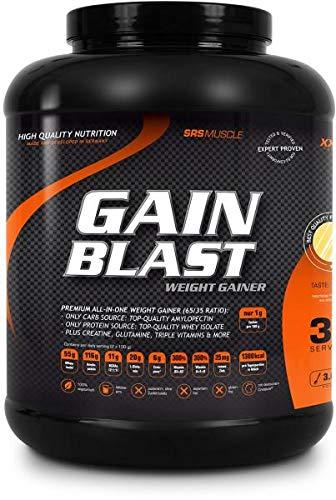 SRS Muscle - Gain Blast XXL, 3.000 g, Schoko | Premium All-in-one Weight Gainer | 65:35 Ratio | ausschließlich natives Whey Isolat als Proteinquelle | ohne Aspartam | deutsche Premiumqualität