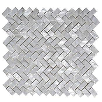Art3d 6-Pack White Mother of Pearl MOP Shell Tile for Shower Wall 12  x 12  Natural White Herringbone