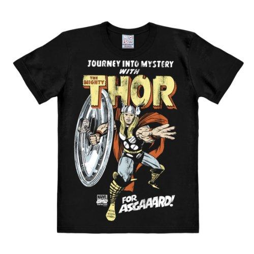 Logoshirt Camiseta Thor - para Asgaaard ! - Camiseta Marvel Comics - Thor - For Asgaaard ! - Camiseta con Cuello Redondo Negro - Diseño Original con Licencia, Talla XXL