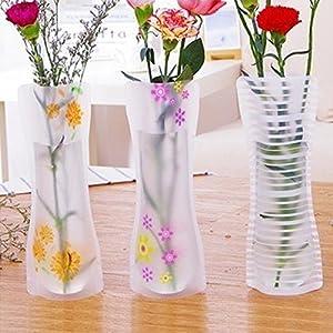 Picturer7 – Jarrón de flores plegable y expansible, de plástico PVC, portátil, reutilizable, irrompible, ecológico, ideal para bodas, oficina, decoración del hogar.