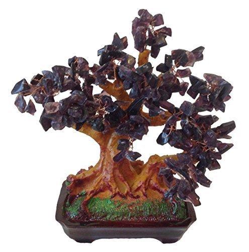 GMMH Feng Shui Suerte árbol 25 cm crásula Bonsai árbol Pfennig Lila Amatista Piedra Hecho a Mano