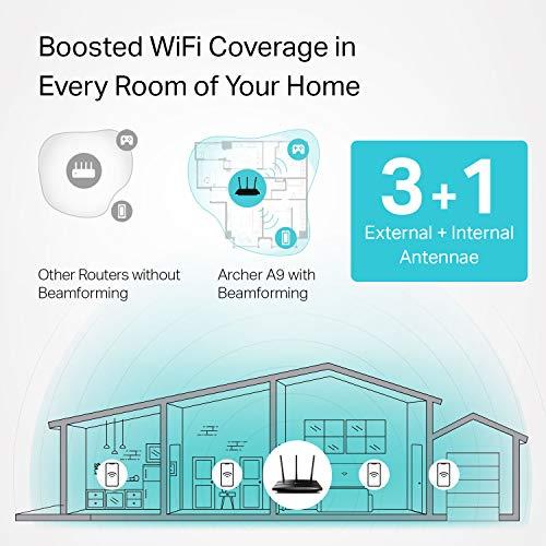 TP-Link Router WiFi inteligente AC1900 (Archer A9) - Enrutador inalámbrico MU-MIMO de alta velocidad, banda doble, Gigabit, servidor VPN, formado por haz, conexión inteligente, funciona con Alexa, negro