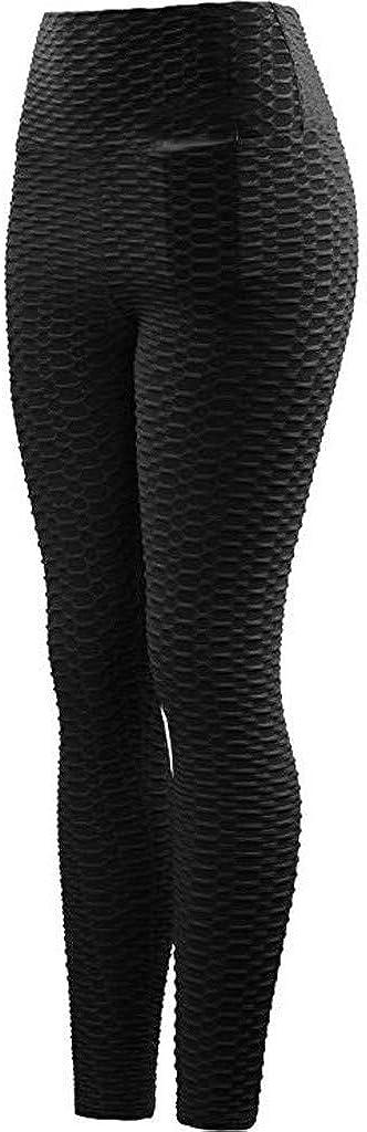 Qiuday Sporthose Damen High Waist Blinkdicht Sport Leggings Elastische Tummy Control Yogahose Lange Laufhose mit Taschen Hose Frauen Jogginghose D/ünne Hosen 3D gedruckte Waben-Yogahose Fitness Hohe