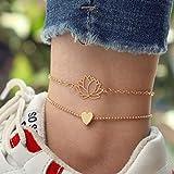 Shegirl Love Heart Anklet bracket Flower Layered Anklet Bracket Gold Lotus Flower Yoga Foot Jewelry for Women and Girls