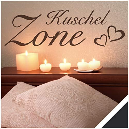 Exklusivpro Wandtattoo Spruch Wand-Worte Kuschel-Zone mit Herzen inkl. Rakel (wrt05 schwarz) 100 x 30 cm mit Farb- u. Größenauswahl