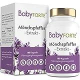 BabyFORTE Mönchspfeffer - 10:1 Extrakt Hochdosiert - 180 Kapseln - Vegan - Hergestellt in Deutschland - 10 mg Vitex Agnus Castus Tabletten