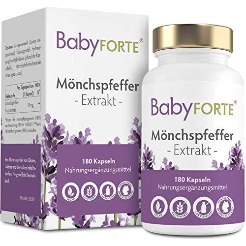 BabyFORTE Mönchspfeffer - 10:1 Extrakt - 180 Kapseln - Vegan - Hergestellt in Deutschland - 10 mg Vitex Agnus Castus Tabletten