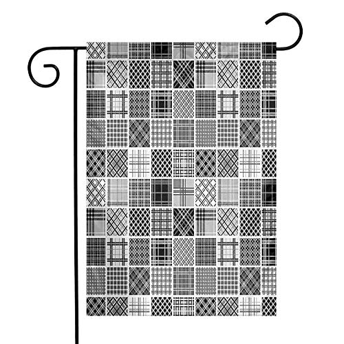 Garden Flags Double-Sided Polyester Vertical Outdoor Yard flag Grey Mixed Checkered Squared Scotch Plaid Striped Scarf Patterns in Patchwork Style Image Black White Grey Home Decorative 12x18