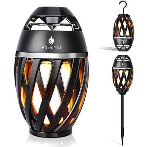 ANERIMST Outdoor Bluetooth Speaker with Pole and Hook Bundle, Flickering Flame Effect, Led Table Lanterns/Lamp, Waterproof for Garden Patio, Stereo Speakers for iPhone/iPad/Android