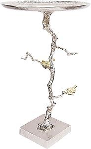A&B Home AV39715 Aluminum Bird and Branch Side Table, Silver