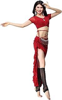 Dance Zone レディース ベリーダンス トップス Tシャツ スカート ラメ入り フリル アシメ Vネック キラキラ アシメ 透け セットアップ 2点セット エレガント レッスン ステージ 舞台 ダンス衣装 発表会 イベント