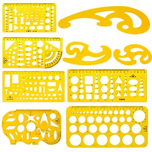 Meetory 9 plantillas de dibujo de arquitectura, herramienta técnica de dibujo de plantillas, regla curva francesa para estudio artístico, oficina y escuela.