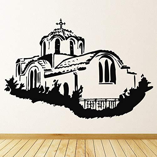 HGFDHG Calcomanías de Pared de la Iglesia Griega Arquitectura Religiosa Arte Mural Dormitorio Sala de Estar decoración del hogar Vinilo Adhesivo para Ventana Papel Tapiz