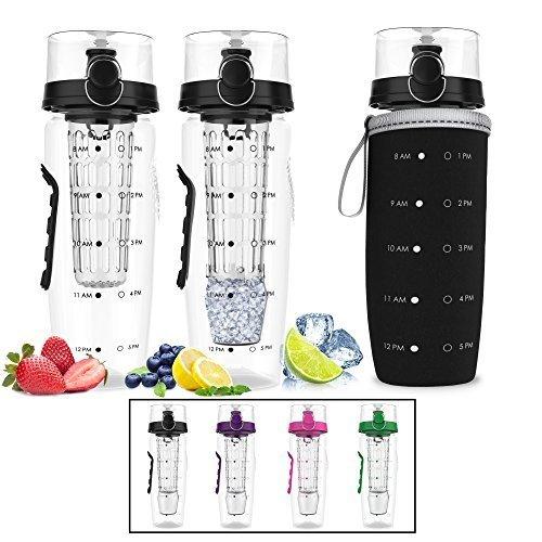 Bevgo Infuser Water Bottle – Large 32oz - Hydration Timeline Tracker – Detachable Ice Gel Ball...