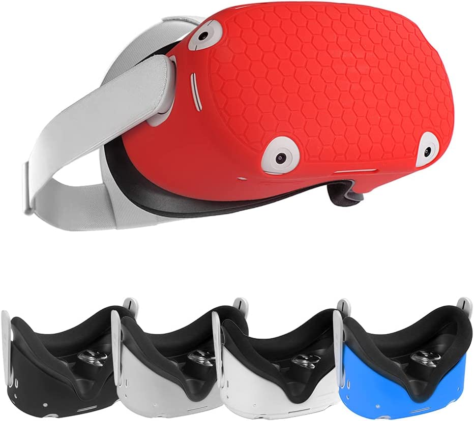 SIMUMU Design Silicone Cover Shell Protector for Oculus Quest 2 Headset (red)