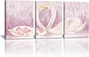 3 Piece Pink Romantic Posters Canvas Wall Art Swan King and Queen Girls Room Wall Decor Animal Couples with Gold Crown Picture Nursery Decorative Photo Gift for Kids Room Bathroom Bedroom 12