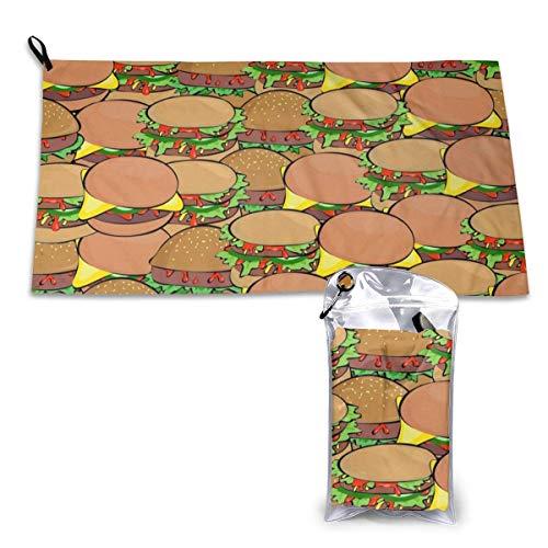 EU Hamburger Muster, super weiches, saugfähiges kompaktes schnell trocknendes Handtuch zum Schwimmen, Camping, Wandern Mikrofaser Strandtuch Badetuch
