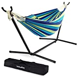 VALLEYRAY Hammock with Stand, 9FT Hammock with Stand Included for Indoor and Outdoor, Portable Hammock with Stand and Carry Case, Hammock with Stand 2 Person (Green and Blue)