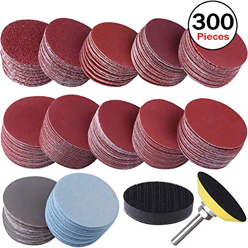 2 INCH 100 PCS 2 inch Sanding Discs Pad,60-2000 Assorted Grit Sandpapers with 1//4 Shank Backing Pad for Drill Grinder Rotary Tools