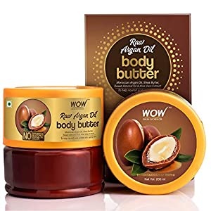 WOW Skin Science Raw Argan Oil Body Butter for Nourishing & Protecting Dry, Aging Skin - For All Skin Types - No Parabens, Silicones, Mineral Oil & Color - 200mL