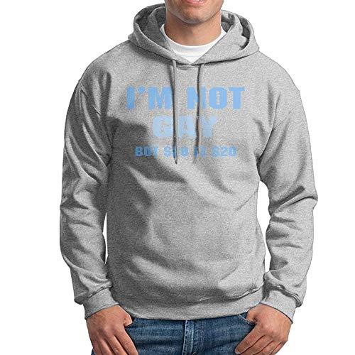 TeMcn_diy Men's I'm Not Gay, But $20 Is $20 Print Sweatshirt Without Pocket Sweater