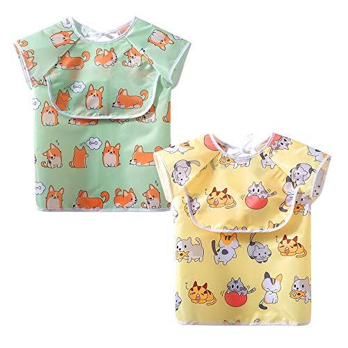 Little Dimsum Babero para bebés con mangas Baberos impermeables para bebés y niños pequeños con bolsillo