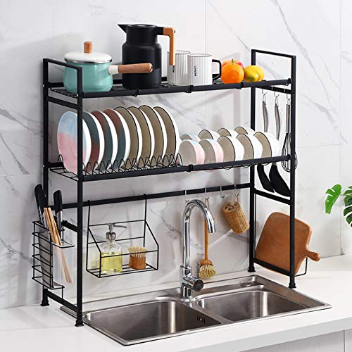 LTLJX Over the Sink Dish Drainer Kitchen Drainers for Dishes,stainless Steel Dish Rack,removable Cutlery Cutting Board Wine Glasses Cups Holder,Black-Doublelayer
