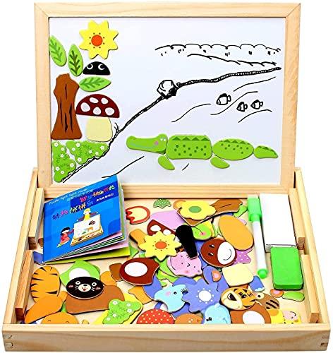 StillCool Rompecabezas de Madera magnéticos 100 Piezas, Coloridos Dibujos de Animales con tableros, Rompecabezas de Pizarra con Cajas para niños Menores de 3 años, Juguetes educativos de Regalo
