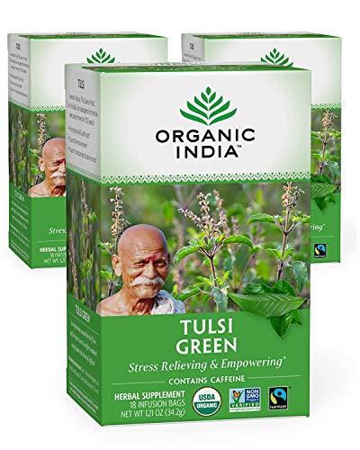 Organic India Tulsi Green Herbal Tea - Stress Relieving & Empowering, Immune Support, Vegan, USDA Certified Organic, Premium Darjeeling Green Tea, Caffeinated - 18 Infusion Bags, 3 Pack