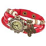Taffstyle Damen-Armbanduhr Analog Quarz mit Leder-Armband Uhr Vintage Retro Schmetterling Rot