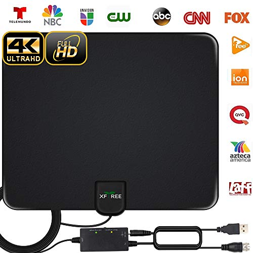 2020 Newest HDTV Antenna, HD Indoor Digital TV Antenna 130 Miles Range with Powerful Amplifier Signal Booster 4K HD for Life Local Channels Support All Television -16.5ft Coax Cable