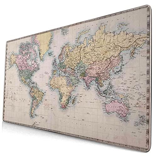Grande Juego de Azar Alfombrilla de Ratón-75 x 40cm,Mapa del mundo Mapa antiguo original coloreado a mano del gráfico de,Alfombrilla de Teclado para el Cojín de Escritorio de la Computadora Portátil
