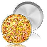 Homikit Teglia per pizza, 30 cm, rotonda, in acciaio inox, per pizza e pizza, set da 2 pezzi, per cuocere in forno, sano e durevole, facile da pulire e lavabile in lavastoviglie