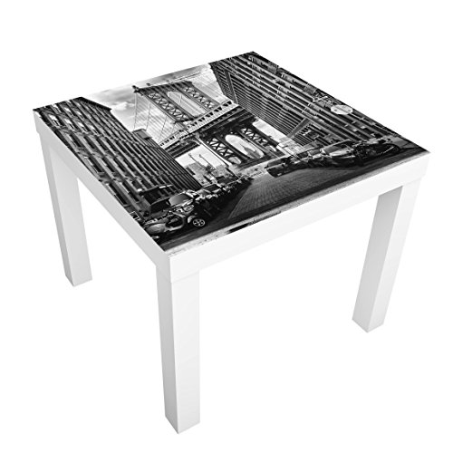Bilderwelten Table Basse Design - Manhattan Bridge in America - 55x55x45cm, Couleur de la Table: Table de Noir, Dimension: 55 x 55 x 45cm