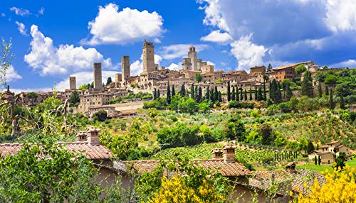 Tuscany, Italy - Beautiful Italy landscapes & Architecture in San Gimignano A-9003149 (12x18 Art Print, Wall Decor Travel Poster)
